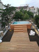 Dachterrasse Becken mit Überlaufrinne